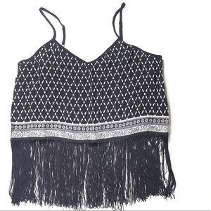 H&M Coachella Black White Fringe Crop Top Size 10